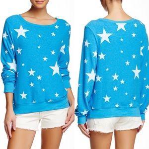 NWT Wildfox Blue Disco Stars Pullover Sweater